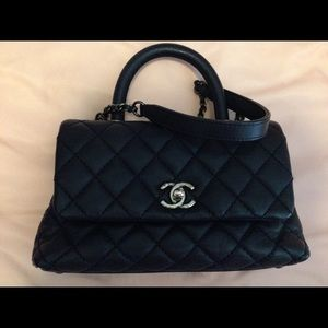 AUTH Chanel Caviar Quilted Mini CocoFlap Navy Blue